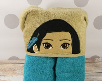 Toddler Hooded Towel - Pocahontas Hooded Towel - Indian Princess Pocahontas Towel for Bath, Beach, or Swimming Pool