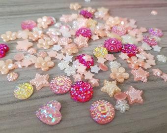 Set of mixed random rhinestones and flatback resins embellishments for scrapbooking, cardmaking BABY PINK
