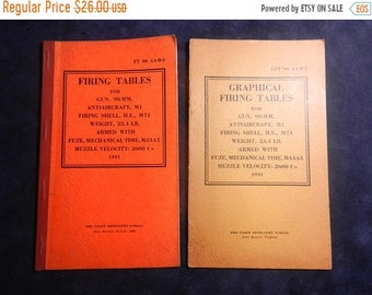 Spring Sale 2 1941 US Military The Coast Artilley School Firing Tables Manuals