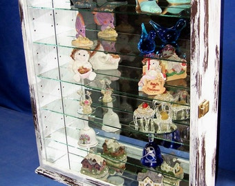 White Shabby Chic Wall Display Cabinet