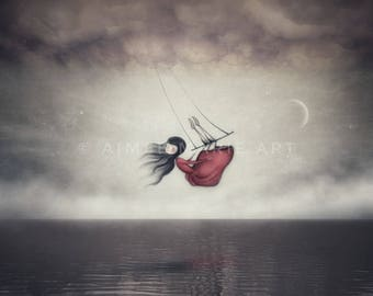 Whimsical Art, Girls Room Art, Ethereal Art, Art Prints, Illustration Print, Magical Art, Dreamy Art, Moon & Sky, Beautiful Art, Home Decor