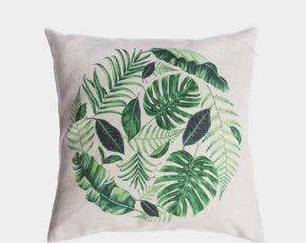 Green Leaves pillow cover, handmade, green pillow cover, couch throw, cushion cover, sofa throw pillow cover, leaf pillowcase, 18 x 18 size