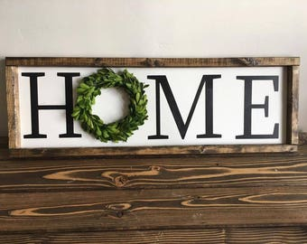Home boxwood wreath farmhouse sign SMALL SIZE