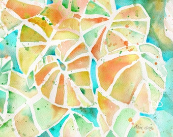 whimsical, bright, tropical, palm trees, watercolor, Hawaii