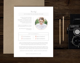 Photography Templates - About Me Page - Digital Photoshop Templates - Photo Marketing - Wedding Photographer Branding