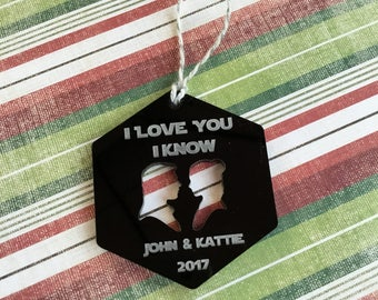 I Love You I Know Christmas Ornament - Star Wars Inspired - Our First Christmas - Wedding - Anniversary - Gift