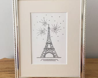 "Original Glitter and Acrylic Eiffel Tower Painting on Paper, Silver, Gold, 5""x7"" or 8""x10"""