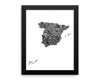 Spain watercolor typography map art print FRAMED country poster wedding housewarming engagement graduation gift anniversary wall art decor