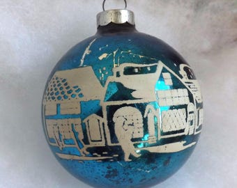 Vintage rare Christmas ornament, blue glass ornament, Christmas village, mercury glass ornament, stencil ornament, Christmas shoppers