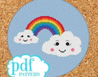 Kawaii clouds and rainbow cross stitch pattern. Needlepoint, tapestry x-stitch pdf. Girls room decor.