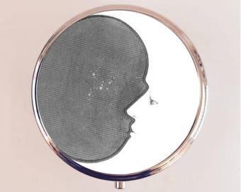 Crescent Moon Pill Box Case Pillbox Holder Trinket Stash Box Lunar Phases