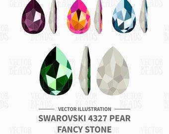 Vector Illustration of Swarovski 4327 Pear Fancy Stone - Digital Clipart