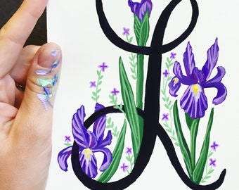 Hand Painted Letter, Custom Monogram, Floral Letter Illustration, Nursery Decor, Custom Letter Painting Illustration