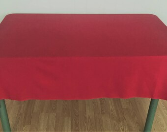 "Vintage Red Tablecloth ""As-You-Like-It"", Red Rectangular Tablecloth,  Red Oblong Tablecloth. Red Table Linens, Vintage Tablecloth"