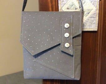 Gray Corduroy with Sparkles -  Crossbody Bag or iPad Case
