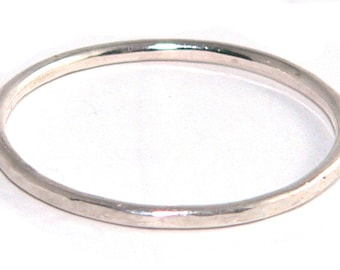 Skinny Thin Textured Sterling Silver Stacking Ring