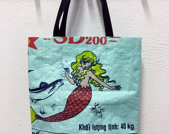 Mermaid upcycled shopping bag