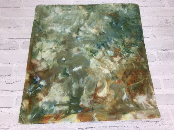 "18"" Silk Throw Pillow Cover Ice Dyed Tie Dye Handmade Artist Zipper Covers Bed Sofa Olive Green Brown Earth Tones #225"
