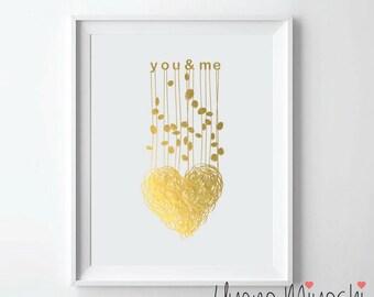 You and Me Gold Foil Print, Gold Print, Custom Quote Print in Gold, Art Print, Love Gold Foil Art Print