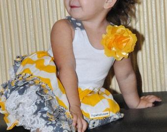 Yellow Gray White Chevron Ruffle Bloomers Dress Headband Swing top Gray white Polka Dot Damask White Lace NB to 2T Easter Sleeveless Dress