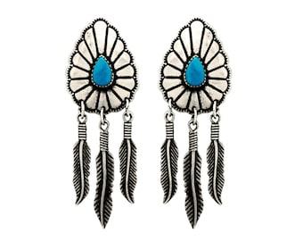 Sterling Silver Vintage Navajo Native American Earrings Turquoise Stone