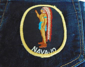 vintage NAVAJO Native American embroidered patch authentic 70's unused