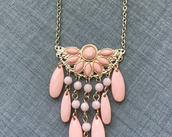 Gold and Pink Beaded Fringe Necklace