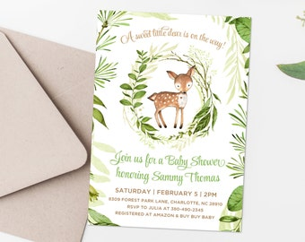 Gender Neutral Fawn Baby Shower Invitation 5x7 Green Laurels Woodland Ferns Green Wreath, Deer Baby Shower, Baby Sprinkle Gender Reveal 80J