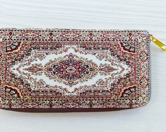 Vegan wallet women, Unique wallet, Unique women's wallet, Ethnic wallet, Tribal wallet, Tapestry wallet, red  hippie wallet, bohemian wa
