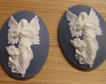 40mm x 30mm oval vertical angel cameo ascending white on royal blue 2 pc lot lN