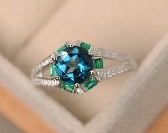 London blue topaz ring, sterling silver, blue topaz rings