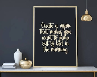 A4/A3 Create A Vision - Inspirational Typography Quote - Life Quotes - Rose Gold Foil Print - Wall Art - Quirky Bedroom Home Decor