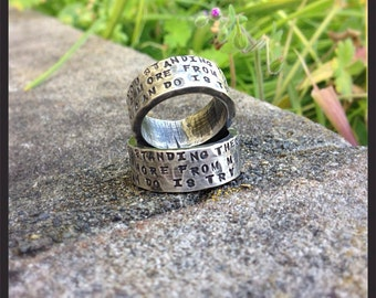 HIS and HERS - Custom WIDE Sterling Silver Hand Stamped Rings Set - Couples Rings - You Choose Font - Can Be Customized Inside and Outside