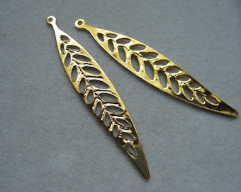 Long leaf pendant, 16k gold plated leaf, Gold Leaf pendant connector, Leaf charm, Leaf Branch pendant, C-007