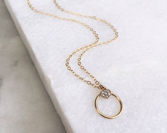 Tiny Heart Necklace, Minimal Necklace, Dainty Gold necklace, 14Kt Gold Fill Round Necklace, Heart Necklace, Gold Filled Heart,