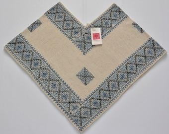 100% Wool Poncho Blue