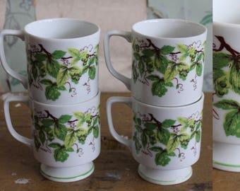 Vintage 1960 1960 Green Ivy Plant Pedestal Mugs. Set of 4. Boho. Floral.