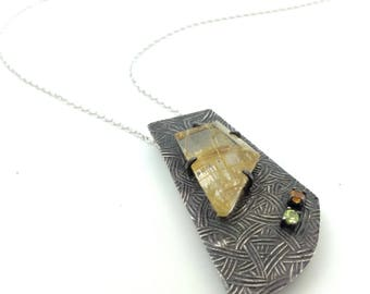Rutilated quartz necklace Statement necklace Rustic quartz necklace