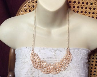 Wedding bib necklace. Gold toned metal faux pearls.