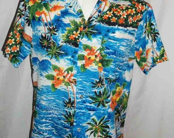 1970s Royal Hawaiian Aloha Shirt Blue White Waves Palm Trees Orange Bloosoms and Moutains