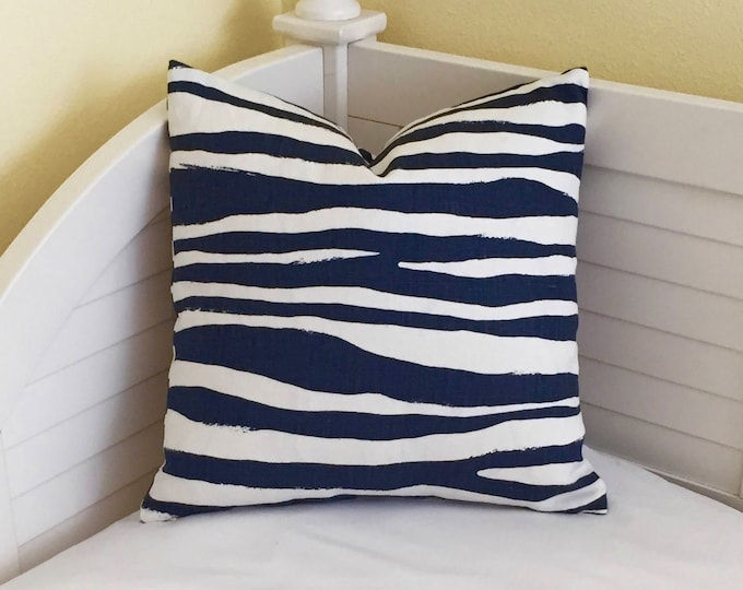 Zebra Stripe in Navy Blue Linen on Both Sides Designer Pillow Cover - Square, Euro, Lumbar, Body Pillow Sizes, Kravet Kate Spade Fabric