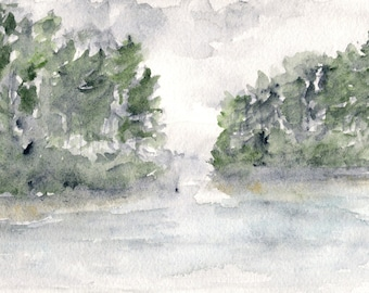 Watercolor painting, watercolor landscape, abstract landscape, landscape painting, landscape print, misty painting, watercolor lake,  7X5