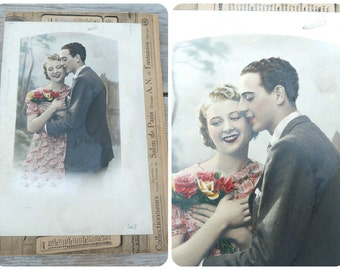 Vintage Antique 1930/30s old  French collage / ephemera/ recolored photography/Romantic/ lovers/Amoureux Kitsch