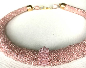 Gold rose necklace, Beadwork necklace, Bead crochet necklace, Blush necklace, Seed bead necklace, Short necklace, Bridesmaid gift, Delicate