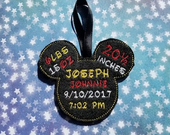 Mickey Mouse Keepsake Birth Announcement Baby 1st Christmas Ornament