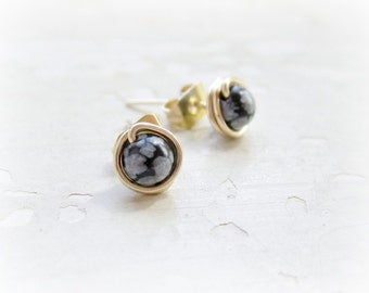 Snowflake Obsidian Stud Earrings, Tiny Stud Earrings, Gold Filled Earrings, Wire Wrapped Posts, Natural Stone, Black Gray, Little Studs