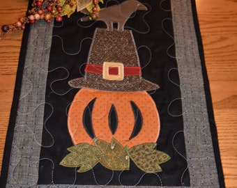 """Fall Scene with a Pumpkin, Pilgrim Hat and a Bird   19.5"""" high by 12.75"""" wide"""