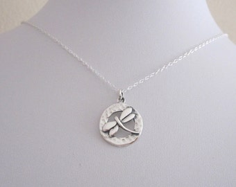 DRAGONFLY round sterling silver charm pendant with necklace chain