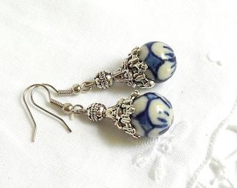 delft blue earrings blue earrings delft blue style dangle earrings delft blue jewelry blue floral earrings  M
