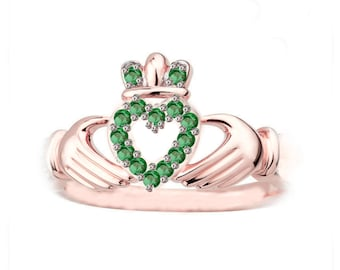 Rose Gold Claddagh Ring,  Claddagh Ring, Claddagh Engagement Ring, Green Stone Claddagh Ring, Women Claddagh Ring, Irish Engagement Ring